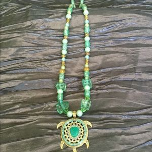 "Aqua Green 29""  necklace with turtle pendant."